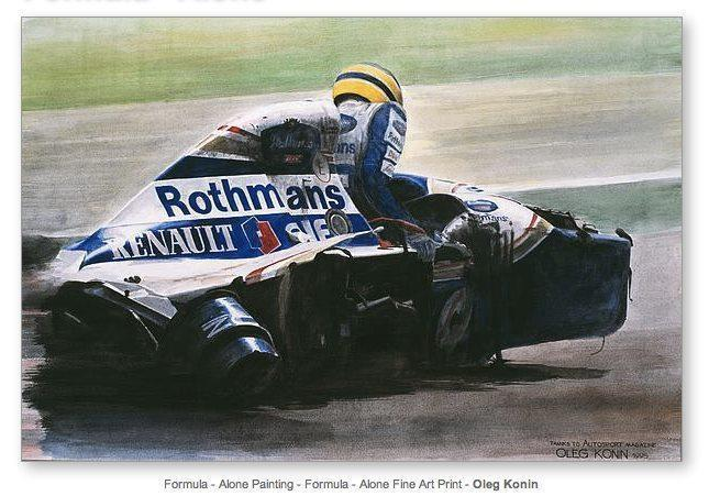 "Ayrton Senna coming out of his car after the crash at Imola. ""If Only"" Formula - Alone Painting - Formula - Alone Fine Art Print - Oieg Konin"