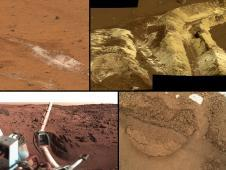 This collage shows the variety of soils<br /> found at landing sites on Mars.<br /> Image credit: NASA/JPL-Caltech<br /> <a href='http://www.nasa.gov/mission_pages/msl/multimedia/pia16571.html' class='bbc_url' title='External link' rel='nofollow external'>� Full image and caption</a>