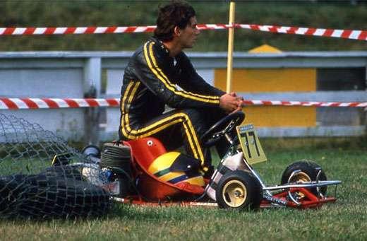 Ayrton Senna da Silva, na inauguração da sua pista de kart, na fazenda de Tatuí.